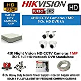HIKVISION HD Turbo (1MP) 4 CCTV Camera and 8Ch.HD DVR Kit with All Accessories
