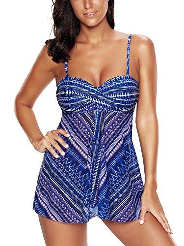 FLYILY Damen Bademode Tankinis Schwimmen Kostüm 2 Stück Badeanzug Sets Plus Größe (Bademode Stück 2)