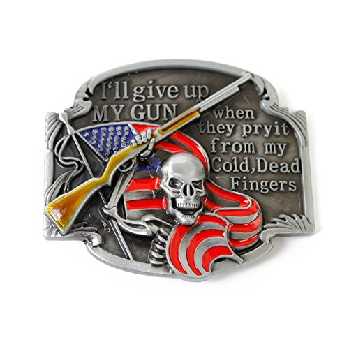BYM Gürtelschnalle, Amerikanische Flagge Skelett Guns Gürtelschnalle,belt buckle -