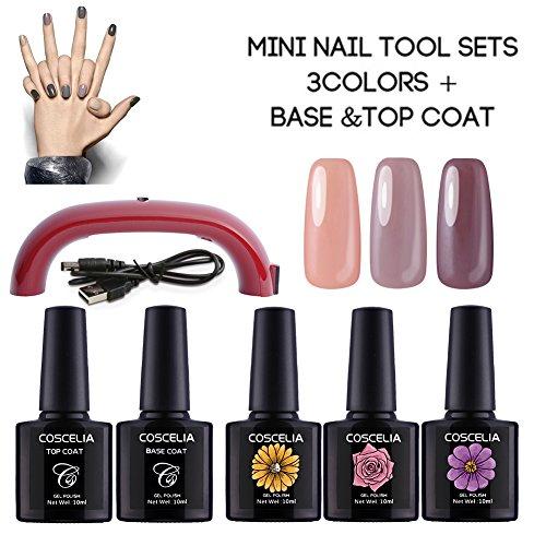 Coscelia 12 W Lampe Pour Ongle Nail Art Vernis Semi-permanent Gel Polish Basecoat et Topcoat Soak Off Manucure Kit#1503