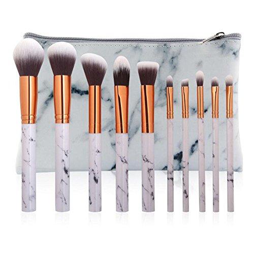 coshine 10 pièces par marbre Pinceaux de Maquillage Ensemble avec marbre PU cosmétiques Outils Sacs