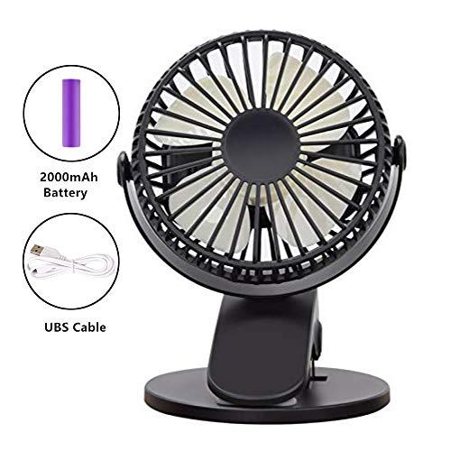 r Tischventilator mit Klemme für Tisch, Kinderwagen, Camping | Mini Clip Fan Lüfter Schreibtischventilator |360° drehbar wiederaufladbarer Batterie 3- Stufige Geschwindigkeiten ()