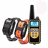 T-Hermes Hunde Erziehungshalsband mit Fernbedienung, Wiederaufladbarer Hundehalsband mit 4 Trainingsmodi, Piepton, Vibration und Schock, 100% IPX7 wasserdicht Trainingshalsband, Bis zu 2400Ft Remote Range, 0~99 Shock Levels Hundetrainingssatz(1 x schwarz 1 x orange)