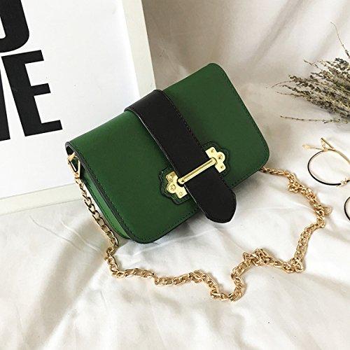 frauen Mit schnalle Kette kleine quadratische tasche Schulter messenger bag mode-paket Grün