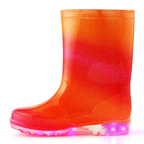 K KomForme Kids Light-Up Rain Boots, Flashing Wellies Wellington for Girls and Boys Size 4-13 1-2