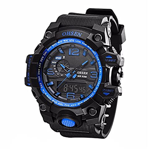 Herren Uhr Sportuhr KZKR Analog Digital Armbanduhr Herren Uhren Schwarz Blau Gelb Datum Doppelzeit Alarm Chronograph (Sportuhr Herren Blau)