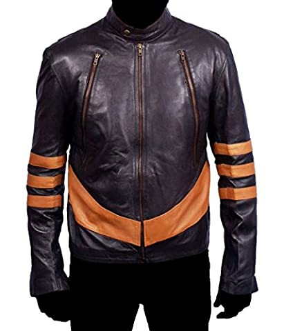 HLS Men's Xman Wolverine Soft Faux coffee brown Leather Jacket (L) (8 Tab-diagramm)