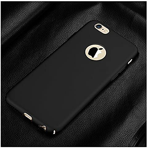 iPhone 6/iPhone 6S - carcasa Cover Case Calidad Pintado de Superficie Anti-deslizante Aceite de Goma Pintura de Dos Niveles Diseñado Todo Surround para Apple iPhone 6/ 6S (for iphone6S, negro)