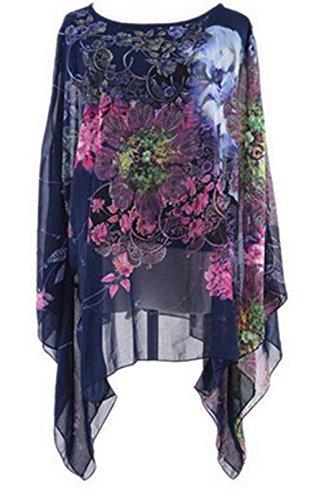 HENGSONG Frauen Weinlese mit Blumen Chiffon Blusen lange Hieb Hülsen Hemd Oberseiten (Marine)