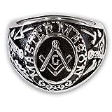 Fly Style® Freimaurer Templer Ring 316L Edelstahl Illuminati Siegelring Herren - Modell Master Mason, Ring Grösse:19.1 mm