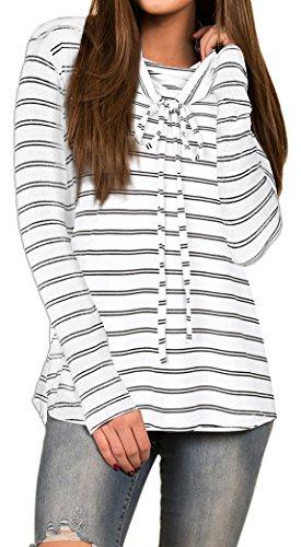 Yeesea Femme T-Shirt Rayé à Manches Longues Casual Top Blouse Chemisier Hauts Blanc