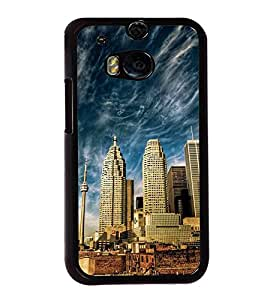 Fuson Premium 2D Back Case Cover Sky scraper With Pink Background Degined For HTC One M8::HTC M8