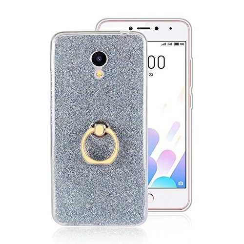 Soft Flexible TPU Back Cover Case Shockproof Schutzhülle mit Bling Glitter Sparkles und Kickstand für Meizu Meilan A5 ( Color : Black ) Blue