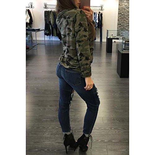 Hemd damen Kolylong® Frauen V-Ausschnitt Bandage Tarnung lange Ärmel Bluse Lässiges loses T-Shirt tank tops Sweatshirt Pullover Tarnung