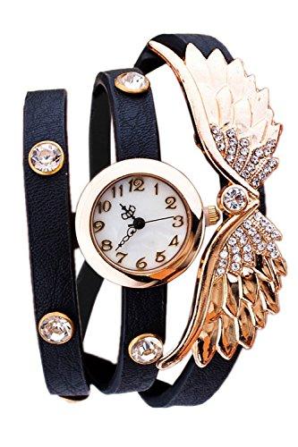 Donne signore ali d'angelo strass PU pelle Bracciale quarzo da polso orologio Black