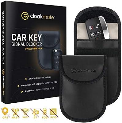 2 x Car Key Signal Blocking Pouch by Cloakmate   Faraday Bag Protector for Keyless Fobs   RFID Blocker for Car Keys