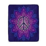 LZXO Manta Suave con símbolo de la Paz, Manta de Flores de Mandala, Manta de Viaje...