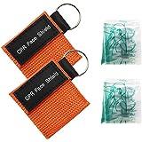 Homgaty Lot de 2Face Shield premiers secours pour la pratique de la Masque de sauvetage d'urgence Resuscitator avec anneau porte-clés Orange