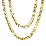 ChainsPro 3-12.0MM Herren Damen Edelstahl Gold Französisch Seil Kette Link Collier Halskette 46-76 cm