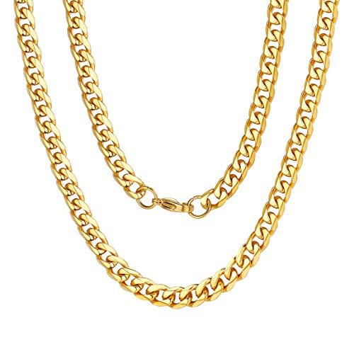 ChainsPro Edelstahl Herrn Ketten Panzerkette Für Männer Silber/Schwarz/18K Gold Halskette,Ketten Breite 6mm,Verschiedene Längen 40-76cm Edelstahl Ketten Für Männer