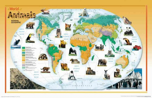 Karte Der Laminierte Welt (Welt der Tiere, laminiert (Reference - World))