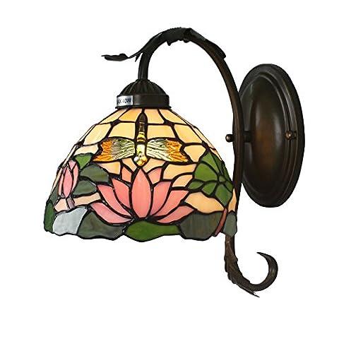 8 Pouces Européenne Antique Pastorale Lotus Libellule Handmade Vitrail Lampe De Mur Corridor Light