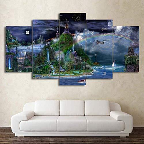 3D Kunstwerk Poster 5 Panel Voller Leben Bild Für Heimtextilien Leinwanddrucke Cinderella Castle Mond Regenbogen Wandkunst Bilder,A,30×40×2+30×60×2+30×80×1