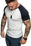 Amaci&Sons Oversize Doppel Farbig Herren Slim-Fit Crew Neck Basic T-Shirt Rundhals 1-0004 Weiß/Navyblau L