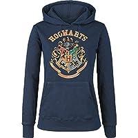 Felpa blu da donna con cappuccio di Hogwarts di Harry Potter maglia blu navy con stemma della scuola di magia e stregoneria di Grifondoro Tassorosso Corvonero e Serpeverde (S)