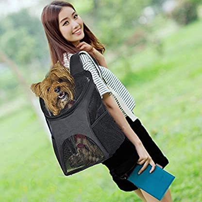 Ewolee Pet Carrier Backpack Breathable Shoulder for Puppy Up To 8lbs Head Out Travelling Pet Bag Free Collapsible Dog… 7