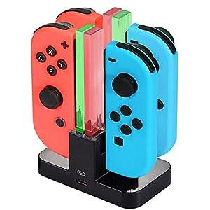 Ladestation für Nintendo Switch [4 in 1 Joy-Con] Diyife Joy-Con Controller Joy-Con Ladegerät Typ-C Kabel, mit LED…