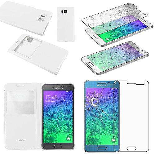 ebestStar - Compatibile Cover Samsung Galaxy Alpha SM-G850F Custodia Portafoglio Protezione Libro Flip con Finestra View, Bianco + Pellicola Vetro Temperato [Apparecchio: 132.4 x 65.5 x 6.7mm, 4.7'']