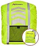 Xcelenze - Premium Regenschutz für Rucksäcke 100% wasserdicht gelb mit Reflektorstreifen| Rucksackschutz Schultasche Regenschutz Regencape Rucksackcover Sicherheitsüberzug Reflektorüberzug