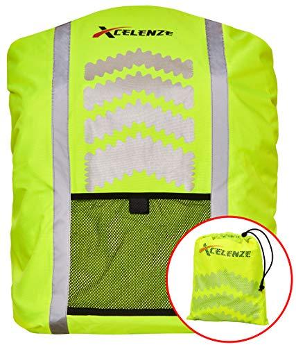 Xcelenze - Premium Rucksack Regenschutz 100{99777042f4bec07a565bbe3acf5ee7039080b7fd37e0108296c883005f2c25b8} wasserdicht | Regenschutz Schulranzen Neon Gelb mit Reflektoren für eine bessere Sichtbarkeit bei Dämmerung und Dunkelheit