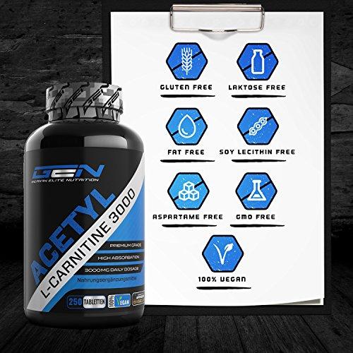 Acetyl L-Carnitin 3000-250 Tabletten – 3000 mg pro Tagesportion – Extra Stark – 100% Acetyl L-Carnitine – Stärkste L-Carnitine Form – Vegan – Premium Qualität – German Elite Nutrition