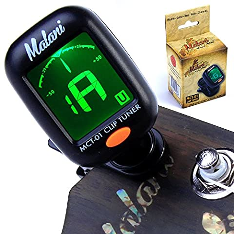 Malani Clip On Ukulele Tuner for Soprano, Concert, Tenor, Baritone Uke Chromatic