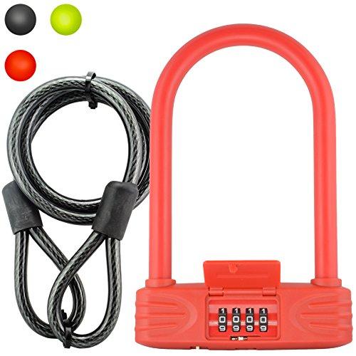 Lumintrail 16mm Heavy Duty 4-Fahrrad Kombination Bügelschloss mit 4ft Kabel-Verschiedene Farben, Rot -