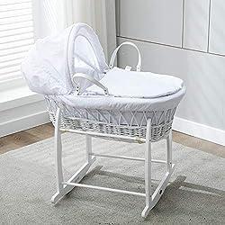 Mcc® Moisés cesta para Bebé recién nacido cesta blanca de mimbre con sábanas blancas en 100% algodón Waffle y colchón (color blanco)