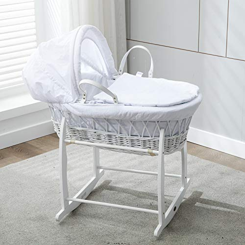 Mcc® Moisés cesta para Bebé recién nacido cesta blanca de mimbre con...