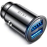 DIVI Chargeur de Voiture, Ultra Compact 2 Ports USB 5V / 4.8A en Alliage d'Aluminium Chargeur Allume Cigare, Charge Rapide pour iPhone XR/XS Max/ 8 Plus, Galaxy S8 / S7 / Edge, Huawei (Noir)