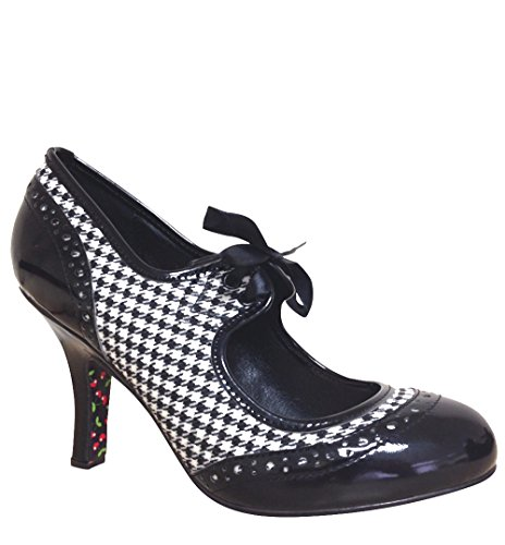Dancing Days Vintage BROGUE Houndstooth HIGH HEELS Pumps Rockabilly Schwarz-Weißes Hahnentrittmuster