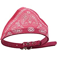 SODIAL Bufanda ajustable de bandana de cuero rosa Panuelo para perro gato mascota S