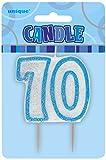 Unique Party 34418 - Candela di 70° Compleanno Blu Brillante