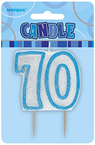 Preisvergleich Produktbild Kerze - Zahl 70 in blau
