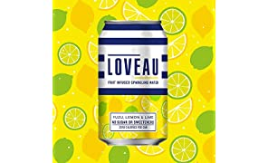 LOVEAU Infused Sparkling Water Yuzu, Lemon and Lime 330ml, Pack of 24