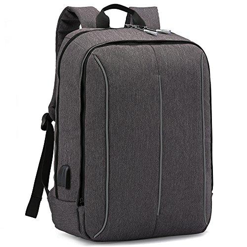 XQXA Mochila Portátil Impermeable Backpack Para Ordenador Hasta 17 Pulgadas Con puerto de carga externa USB para negocio,viajar - 25L Gris