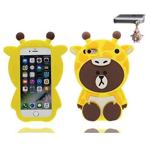 iPhone 7 Plus Custodia, iPhone 7 Plus Copertura 5.5, Carina TPU Case Cartoon 3D Cover + tappi antipolvere ( Cartoon giraffa orso ) Anti-Graffi # 1