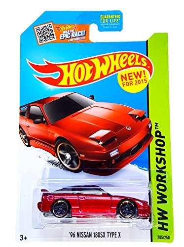 Hot Wheels, 2015 HW Workshop, '96 Nissan 180SX Type X [Red] Die-Cast Vehicle #205/250 by Hot Wheels