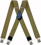 Tirantes Hombre X-Forma Elásticos Ancho 40 mm con clips extra fuerte totalmente adjustable todos los colores (Beige Claro)