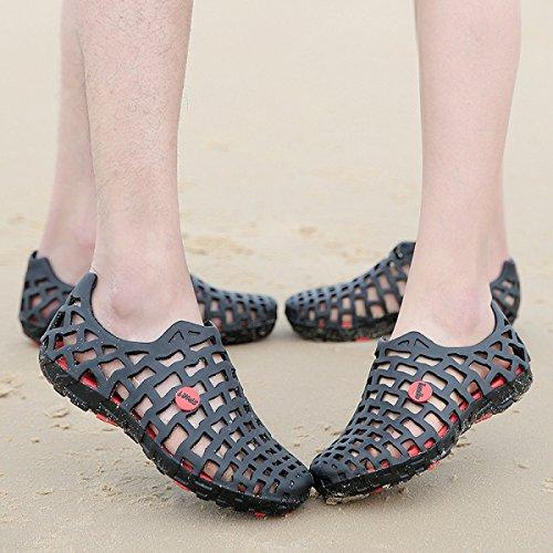 LXXAUnisex Estate Spiaggia Coppia Ventilato Hollow Peso Leggero Sandali Di Sport Pattini Esterni Calzature Sportive black+red